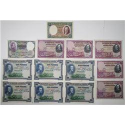 Banco de Espa–a. 1925-1931. Lot of 13 Issued Notes.