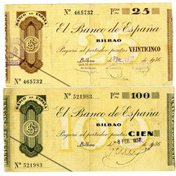 Banco de Espa–a. 1937. Pair of Issued Notes.