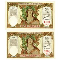 Banque De L'Indochine, ND (1939-65) Issued Banknote Pair.