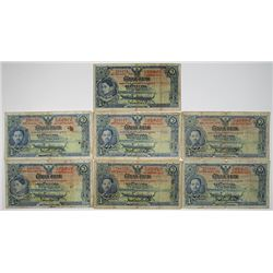 Government of Siam. 1934-1936. Lot of 7 Issued Notes.