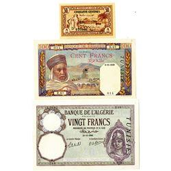 Banque De L'Algeria Overprinted Tunisia, 1939 to 1943 Issue Trio.