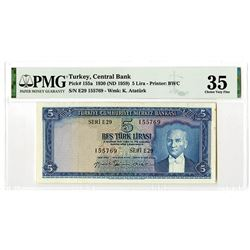 Central Bank of Turkey. 1930 (ND 1959). Issued Banknote.