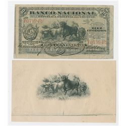 Banco Nacional, 1887, Issued Banknote with Matching Proof Vignette.