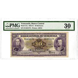 Banco Central de Venezuela. 1950. Issued 10 Bolivares Banknote.