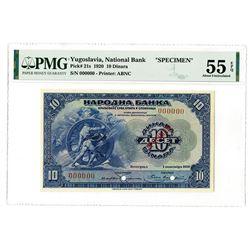 Narodna Banka Kraljevine Srba, Hrvata i Slovenaca. 1920. Specimen Banknote.