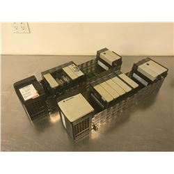 (2) ALLEN BRADLEY 1756-A13/B 13 SLOT CHASSIS W/ MODULES