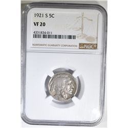 1921-S BUFFALO NICKEL, NGC VF-20