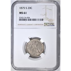 1875-S 20 CENT PIECE NGC MS-61