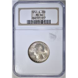 1951-S WASHINGTON QUARTER NGC MS-66