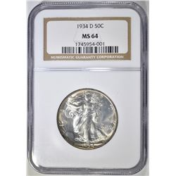 1934-D WALKING LIBERTY HALF NGC MS-64