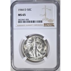 1944-D WALKING LIBERTY HALF DOLLAR, NGC MS-65