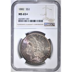 1882 MORGAN DOLLAR NGC MS-65+ COLOR