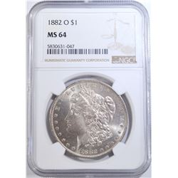 1882-O MORGAN DOLLAR, NGC MS-64