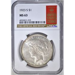 1923-S PEACE DOLLAR NGC MS-63