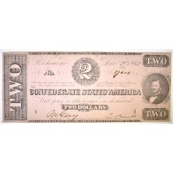 1862 $2 CONFEDERATE STATES NOTE AU/CU
