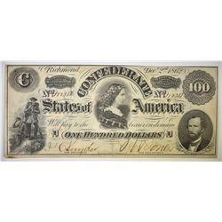 1862 $100 CONFEDERATE STATES NOTE AU/CU