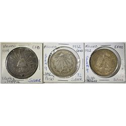 LOT OF 3 MEXICAN SILVER COINS: