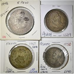 LOT OF 4 MEXICAN  COINS:
