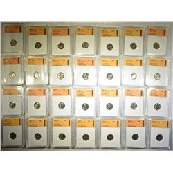 LOT OF 28 ROOSEVELT DIMES  SGS MS-70
