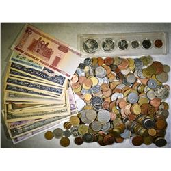 3 LBS FOREIGN COINS, 18 PIECES FOREIGN CURRENCY &