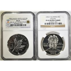 LOT OF 2 SILVER OLYMPIC COINS: