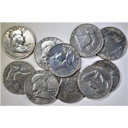 LOT OF 10 MIXED DATE FRANKLIN HALVES