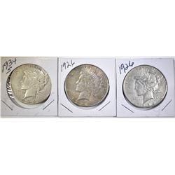 1926-D,S & 1934-S PEACE DOLLARS
