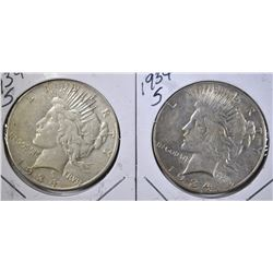 2 1934-S PEACE DOLLARS VF
