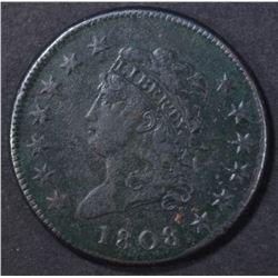 1808 LARGE CENT  F/VF