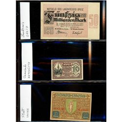 World Banknote Lot;  includes German issues.  Lot of approx 20 various Notes and Notgel issues.