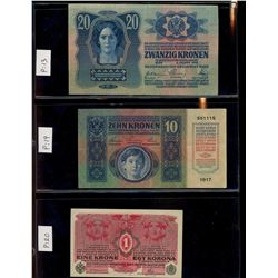 World Banknote Lot;  includes issues from Austria and its regions.  Lot of approx 20 various issues.