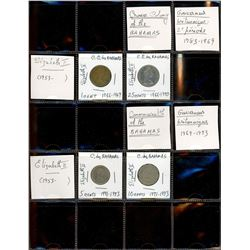 World Coinage Lot;   Lot of approx 13 various issues from the Bahamas.   Antilles septentrionals 196