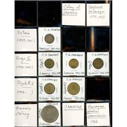 World Coinage Lot;   Lot of approx 16 various issues from Jamaica and its regions.   Jamaïque - Caïm