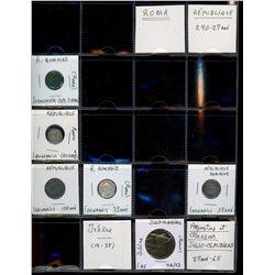 World Coinage Lot;  includes 50 various Ancient Roman Empire coins.  Empire romain 217 avant JC à 45