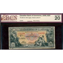The Canadian Bank of Commerce;  1935 $20 #116350  CH-75-18-10, BCS  Very Fine-20 with minor soiling.