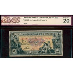 The Canadian Bank of Commerce;  1935 $20 #124843  CH-75-18-10, BCS  Very Fine-20.
