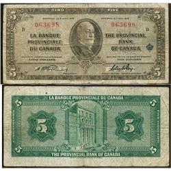 La Banque Provinciale du Canada;  1935 $5 #063698 CH-615-16-02, Fine Example.