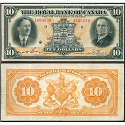 The Royal Bank of Canada;  1927 $10 #1496530, bright VF+ example.