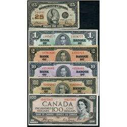 Canada Banknote Lot;  includes 1923 25¢. 1937 $1,1937 $2, 1937 $10, 1937 $100 & 1954 $100 DF.  Lot o