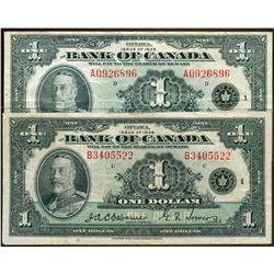 1935 $1 BC-1 #A0926896 & #B3405522.  Lot of 2 nice examples average VF.