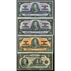 1935 $1 BC-2 #F2230500 VG stained, 1937 $10 BC-24b(2) EF & 1937 $50 BC-26b #BH2933137 F+ stained.  L