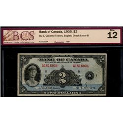 1935 $2 BC-3 #A1816034, BCS Fine-12.  Designated with tear.
