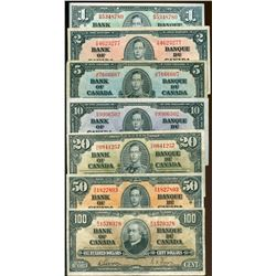1937 $1 to $100 Gordon-Towers Complete Set of 7 notes average VF grades.