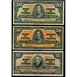 1937 $20 BC-25b, $50 BC-26b, $100 BC-27b(2), 1954 $20 BC-41b & 1973 $1 BC-46b (5 consec notes).  Lot
