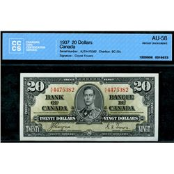1937 $20 BC-25c #KE4475382, CCCS Choice About Uncirculated-58.