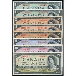 1954 Devil's Face Lot;  includes $1 (2), $2 (3), $5, $10 & $20.  Lot of 8 pieces VG to AU+.  $20 #BE