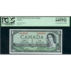 1954 $1 BC-29b #LA0808964, PCGS Choice Uncirculated-64PPQ.  Ex Covered Bridge Collection.