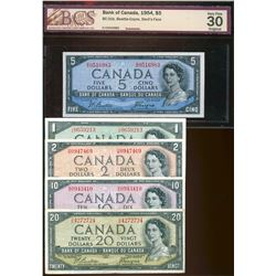 1954 $1 to $20 Beattie-Coyne Set.  Fine to VF+.  $5 issue BCS graded Choice Very Fine-30