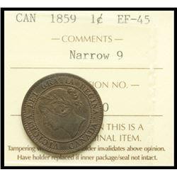 1859 1¢ Nar 9 ICCS Choice Extra-Fine-45.