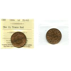 1886 1¢ Obv 2 ICCS Choice Mint State-62 Trace Red.